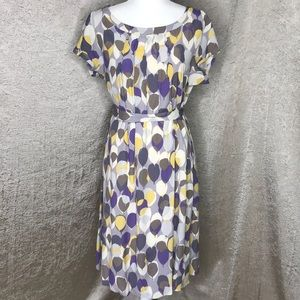 Boden Leaf Print Tie Waist Short Sleeve Dress Sz10